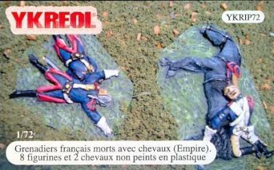 YKRIP72 - Grenadiers français morts avec chevaux (Empire) 1/72