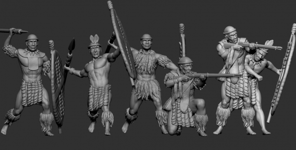 Zulu warrior with javelins and rifles