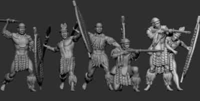 STL Zulu 8513 Zulu warrior with javelins and rifles 1/72